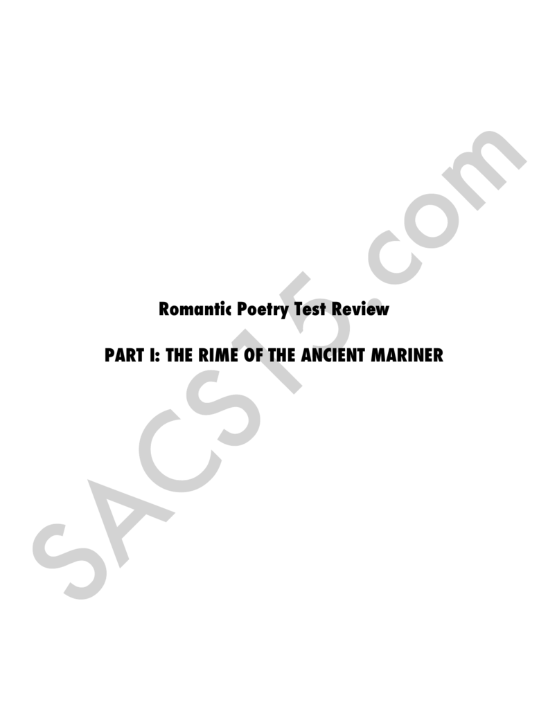 romanticism in rime of the ancient mariner