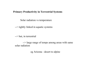 Primary Productivity in Terrestrial Systems Solar radiation vs
