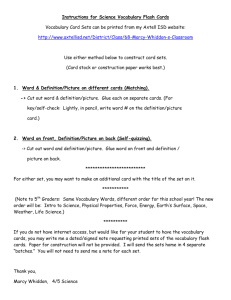 Instructions for Science Vocabulary Flash Cards Vocabulary Card