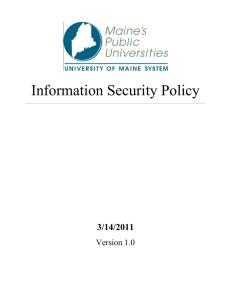 Information Security Policy - University of Maine System