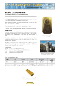 Royal Canadian Mint - Gold Bars Worldwide