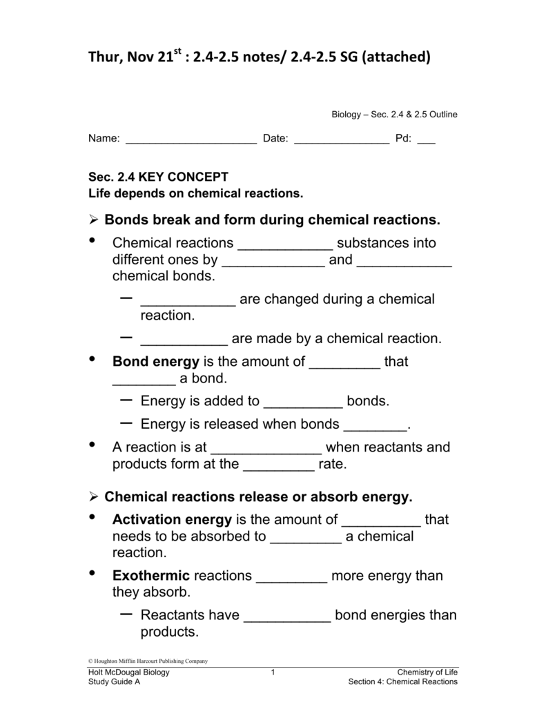 Biology eoc study guide with practice questions. Section 2–4 chemical  reactions and enzymes (pages 49–53).