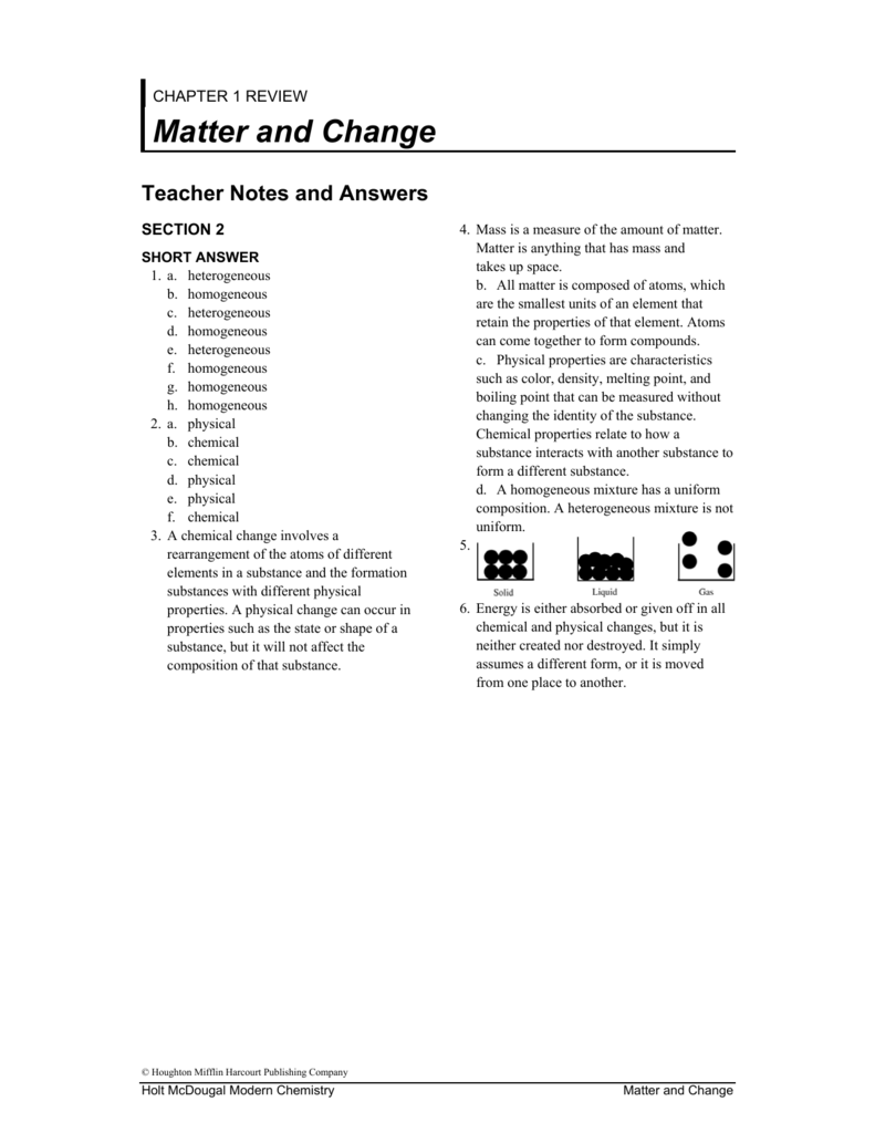 Chemistry Chapter 2 Matter And Change Worksheet Answers ...