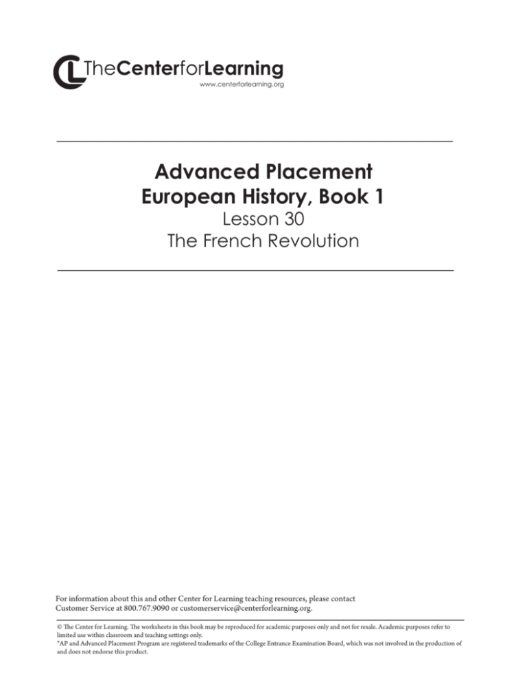 Lesson 30 The French Revolution