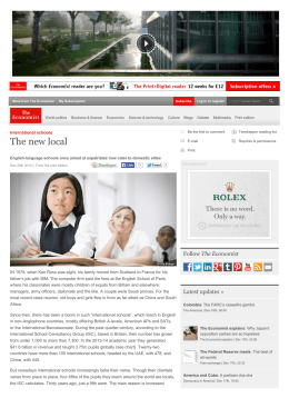 The new local | The Economist - International School Consultancy