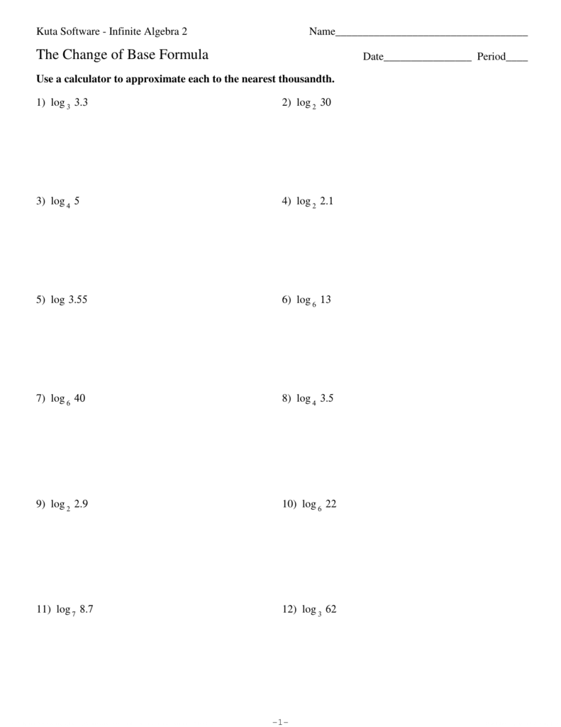 Change of Base Formula Worksheet