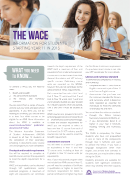 The WACE brochure for students entering Year 11 in 2015