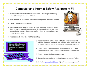 Computer and Internet Safety Assignment #1