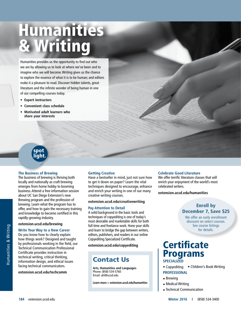 Humanities & Writing - UC San Diego Extension
