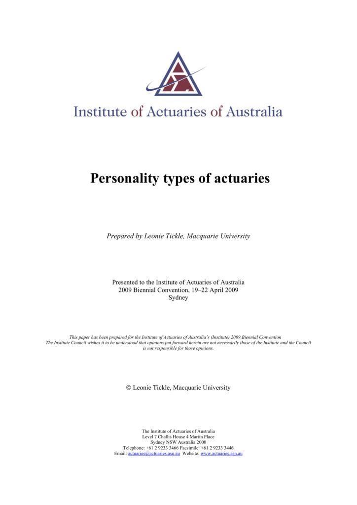 Personality types of actuaries - Institute of Actuaries of