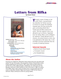 ANSWERS ELA Reading Guide for Letters from Rifka Name Class