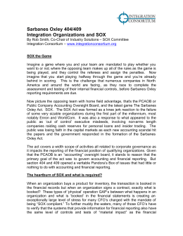 Sarbanes Oxley 404/409 Integration Organizations