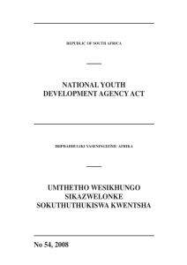 National Youth Development Agency Act