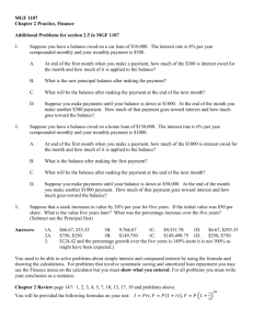 MGF 1107 Chapter 2 Practice, Finance Additional Problems for