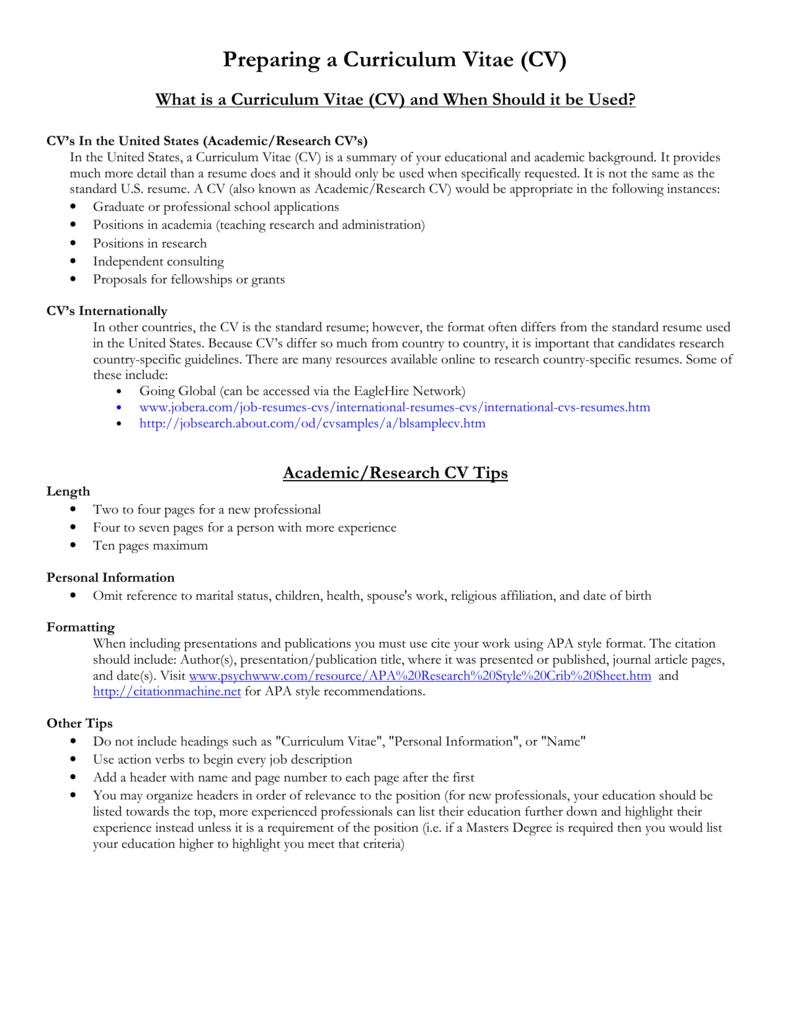 Preparing A Curriculum Vitae CV