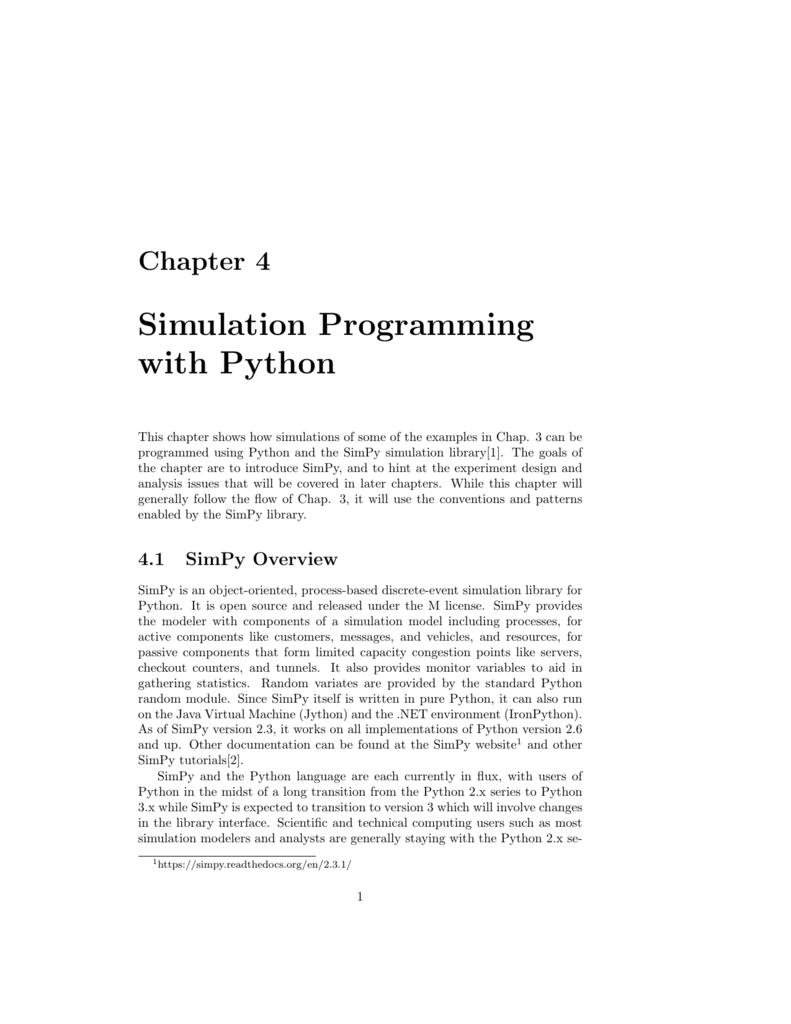 Simulation Programming with Python