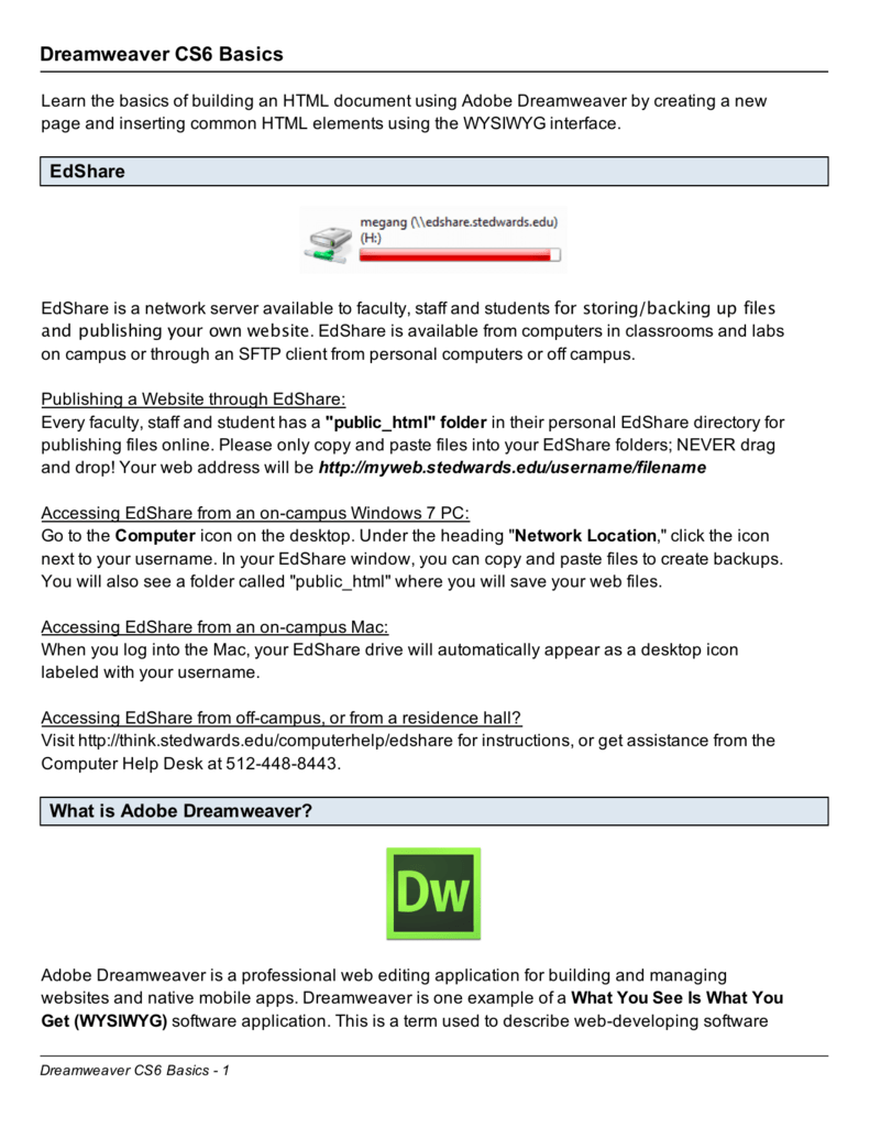 Dreamweaver CS6 Basics - Think St  Edward's University