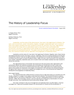 The History of Leadership Focus