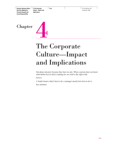 The Corporate Culture—Impact and Implications