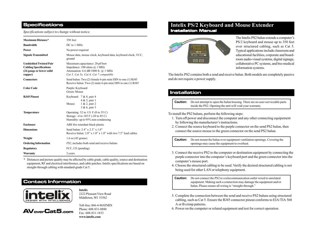Intelix Ps 2 Keyboard And Mouse Extender 568 Cat5 Wiring Diagram