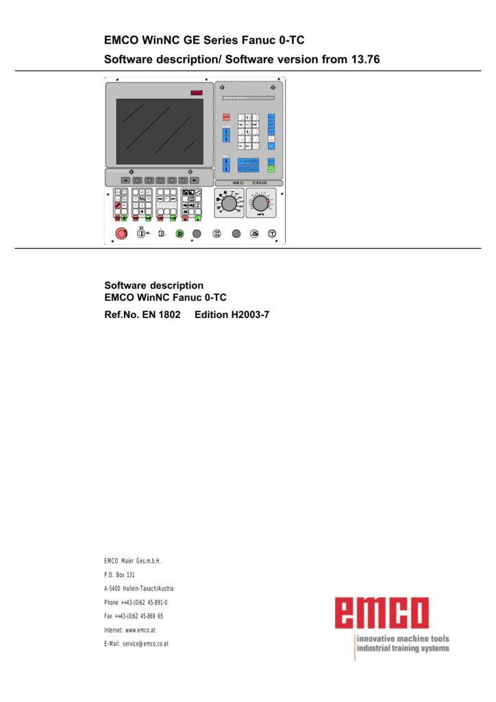 EMCO WinNC GE Series Fanuc 0-TC Software description/ Software