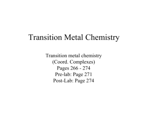 Lab 11: Transition Metal Chemistry