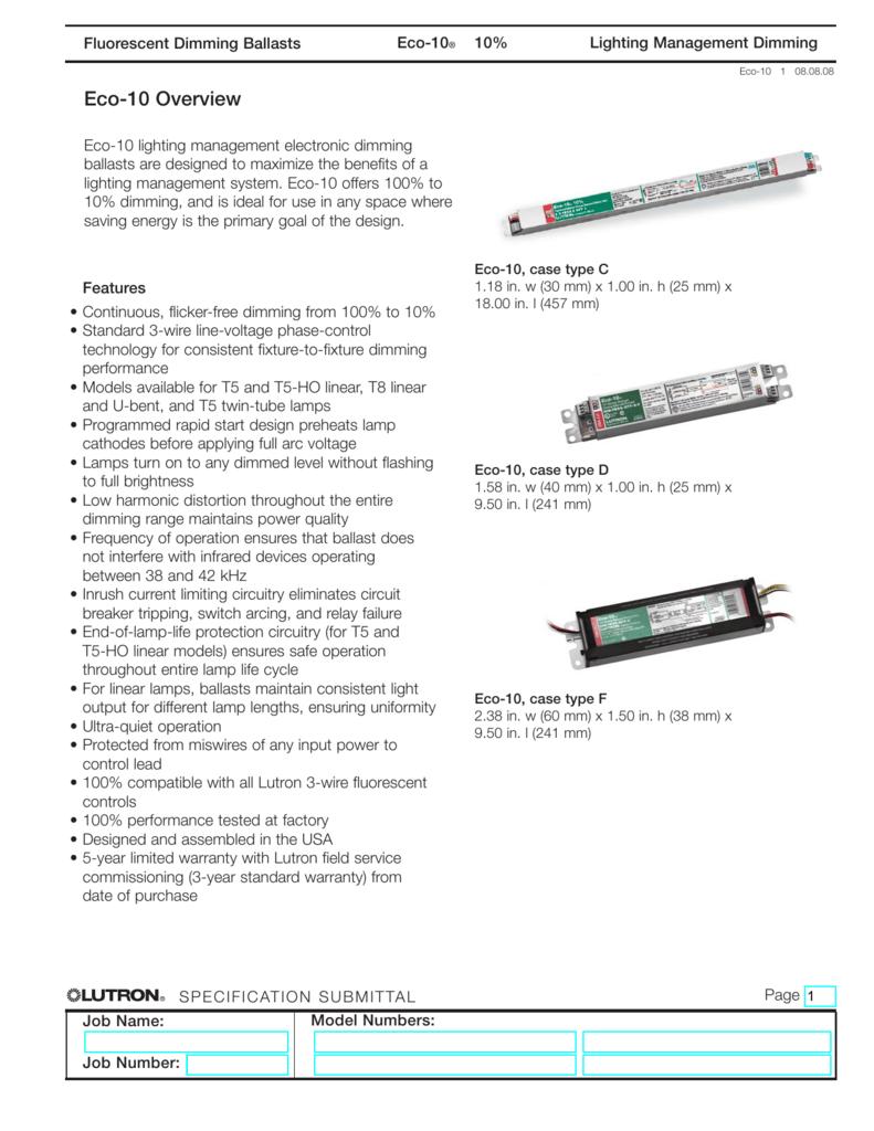 Lutron ECO 10 ECO-T817-120-2 Dimming Ballast