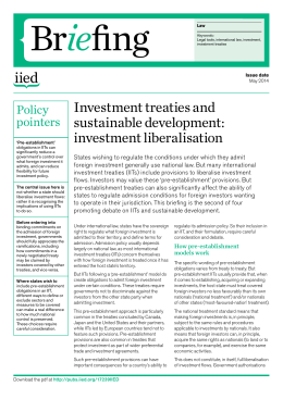 Investment treaties and sustainable development