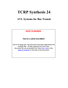 TCRP Synthesis 24 AVL Systems for Bus Transit NOTE TO READER
