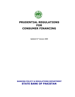 PRUDENTIAL REGULATIONS FOR CONSUMER FINANCING