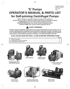 'S' Pumps OPERATOR'S MANUAL & PARTS LIST for Self