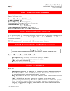 Material Safety Data Sheet Thermoplastic Comfort Systems, Inc TCS