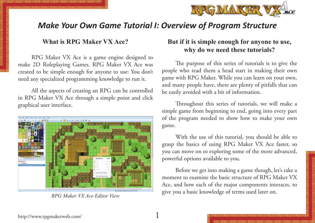 1 Make Your Own Game Tutorial I: Overview of