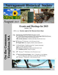 Historical News August 2015 - Narragansett Historical Society