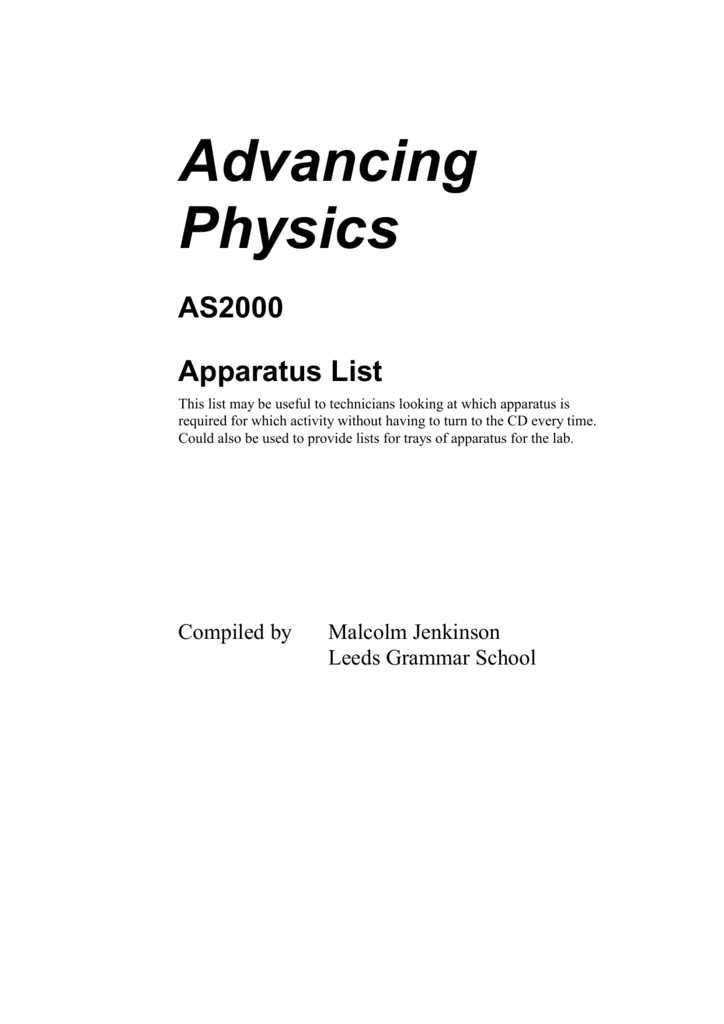 Advancing Physics