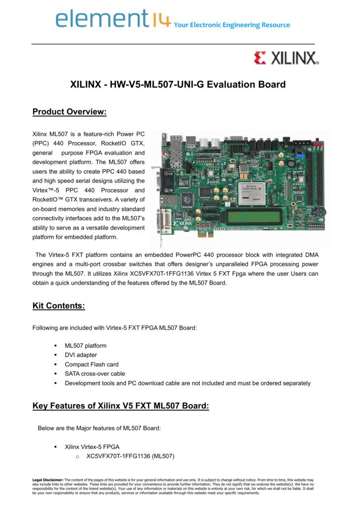 XILINX - HW-V5-ML507-UNI-G Evaluation Board