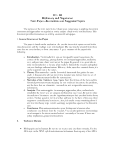 POL 190 Diplomacy and Negotiation Term Paper—Instructions and