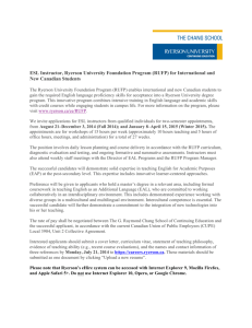 ESL Instructor, Ryerson University Foundation Program (RUFP) for