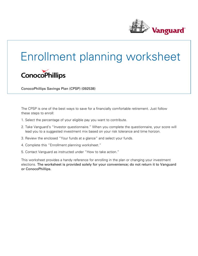 enrollment planning worksheet
