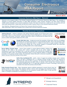 Consumer Electronics M&A Report - Intrepid Investment Bankers LLC