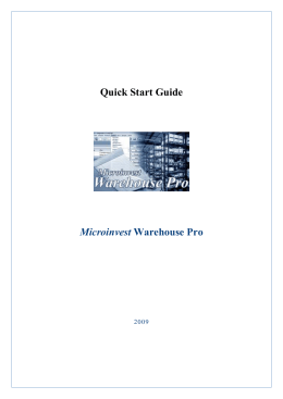 Quick Start Guide Microinvest Warehouse Pro - microinvest
