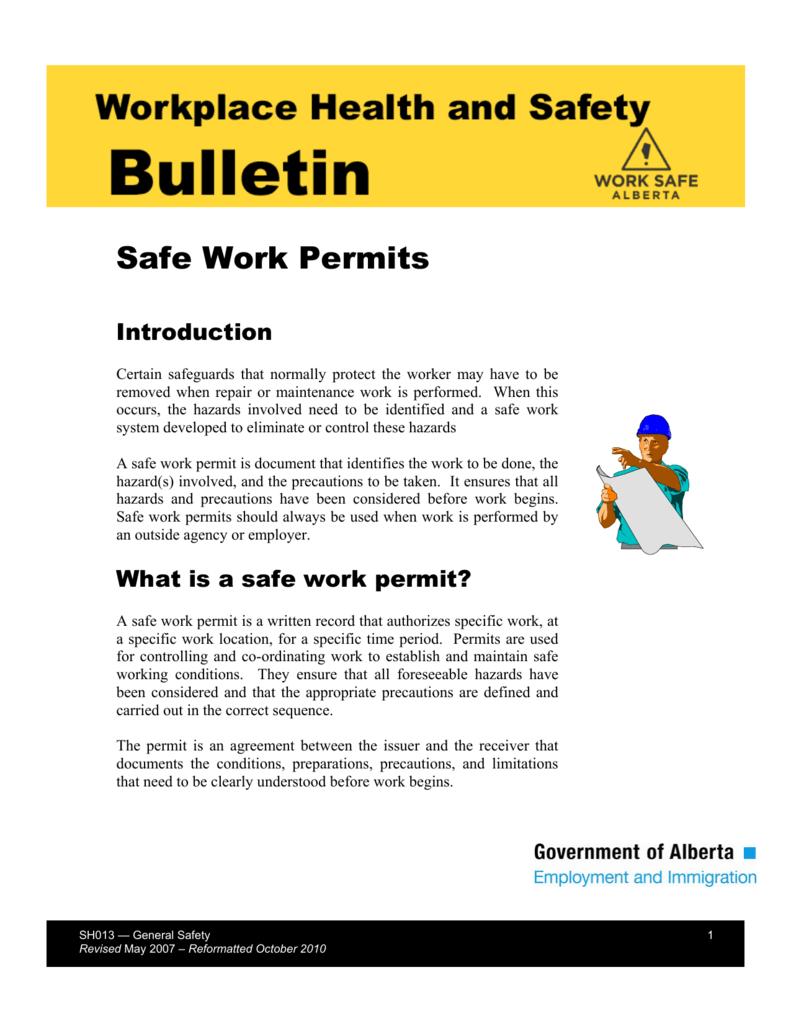 Safe Work Permits (SH013) - Alberta Jobs, Skills, Training