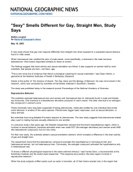 Sexy Smells Different to Gay vs Straight Men