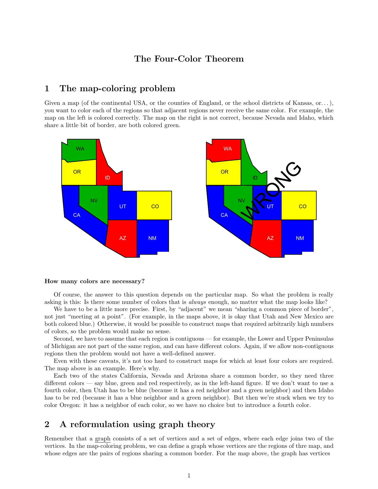 The Four Color Theorem 1 The Map