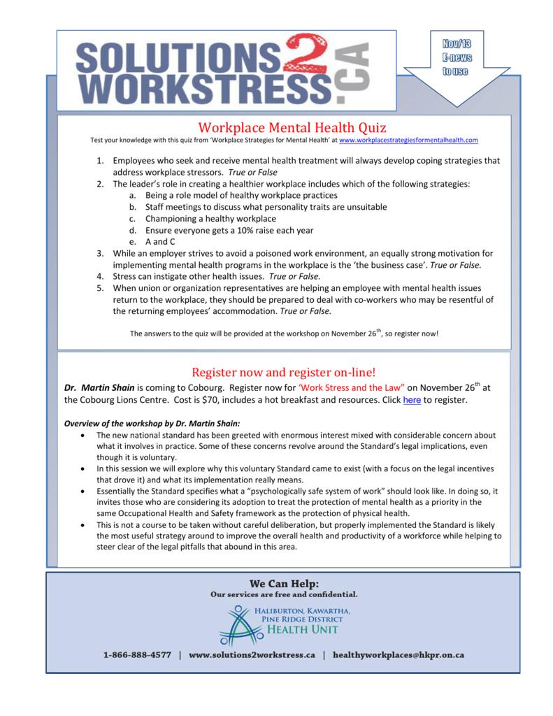 Workplace Mental Health Quiz