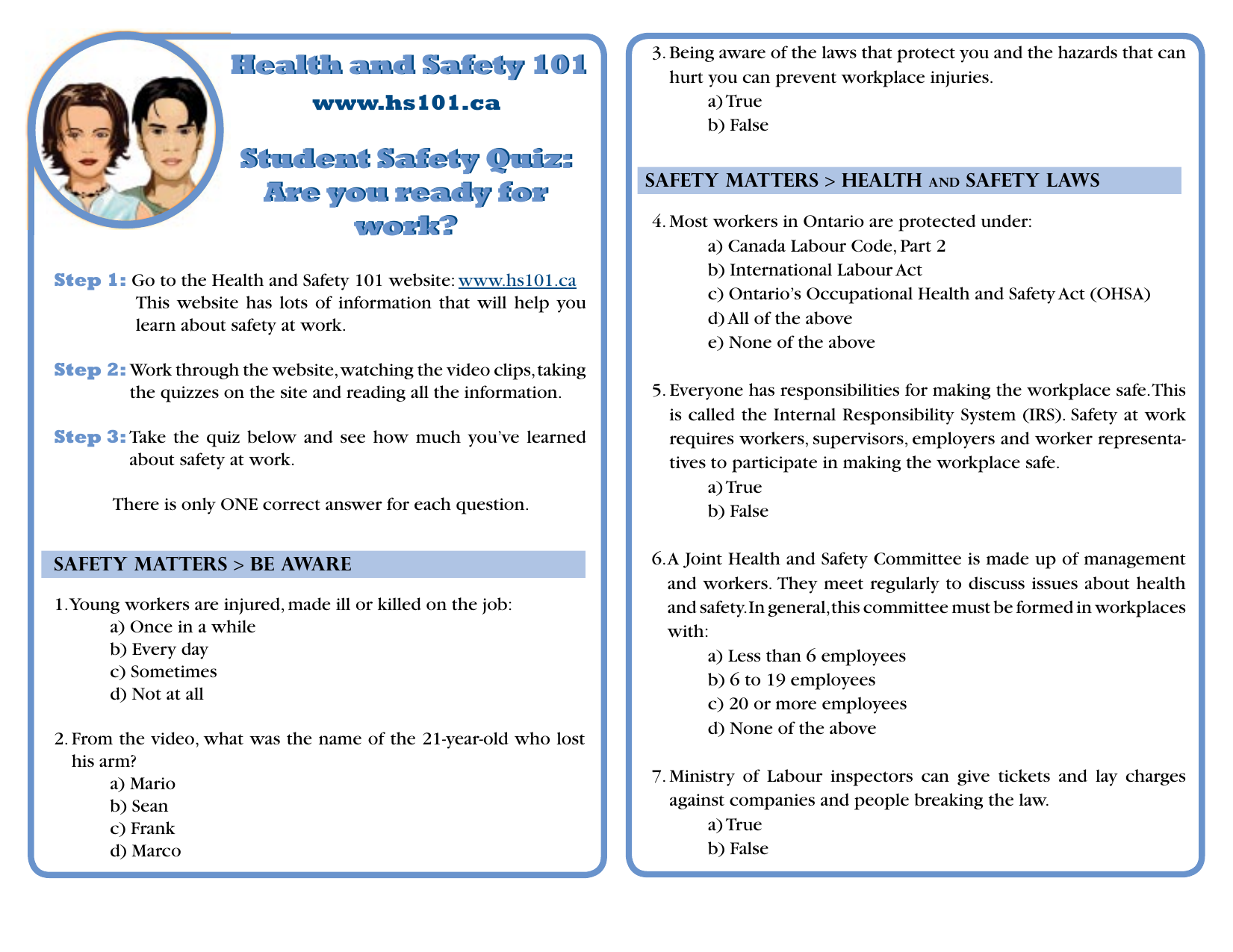 Health and Safety 101 Student Safety Quiz: Are you ready for