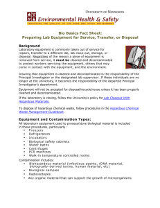 Bio Basics Fact Sheet: Preparing Lab Equipment for Service