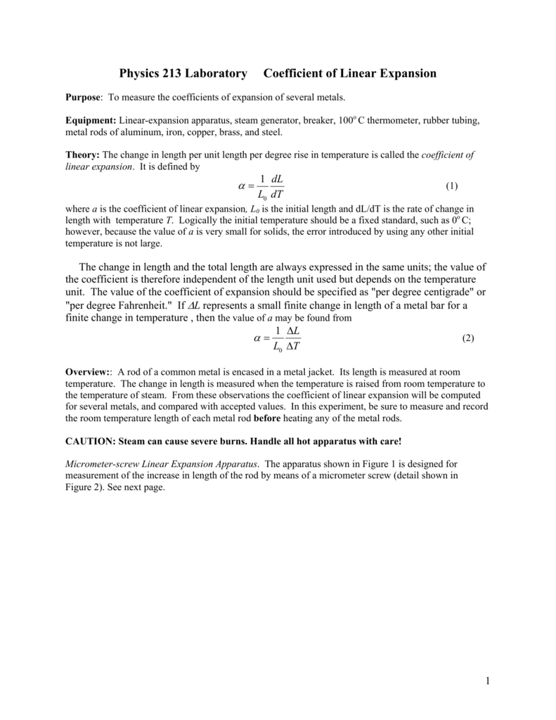physics 213 laboratory coefficient of linear expansion