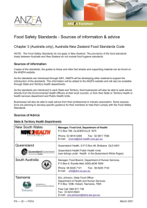 Food Safety Standards - Sources of information & advice