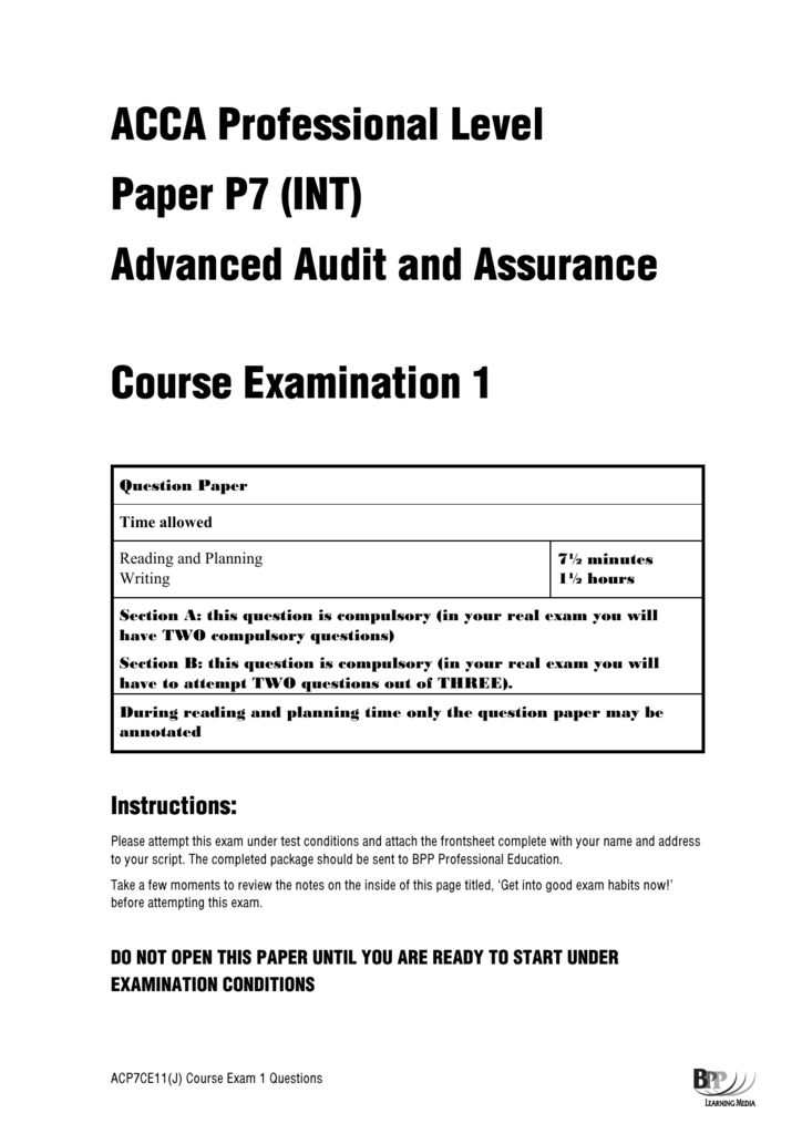 ACCA Professional Level Paper P7 (INT) Advanced Audit and